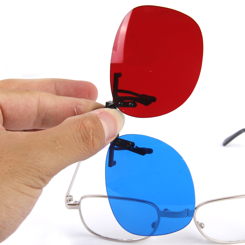 1Pair Adult Red-Blue 3D Clip-on Glasses for 3D Viewing Home <font><b>Movies</b></font> fashion style and durable Red blue 3D clip on myopia Glasses image