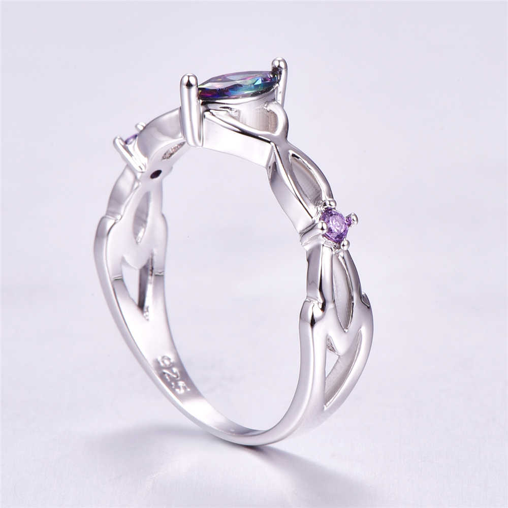 Wedding Engagement Marquise Cut Multi-color Purple Peridot Stone CZ 925 Sterling Silver Ring Size 6 7 8 9 Fashion Simple Exquisi