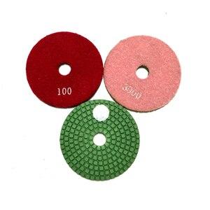 Image 4 - RIJILEI 10 pièces/lot 4 pouces/100mm tampons de polissage humide/tampons de polissage en granit/tampon de polissage diamant pour outils de diamant en marbre (4DS1)