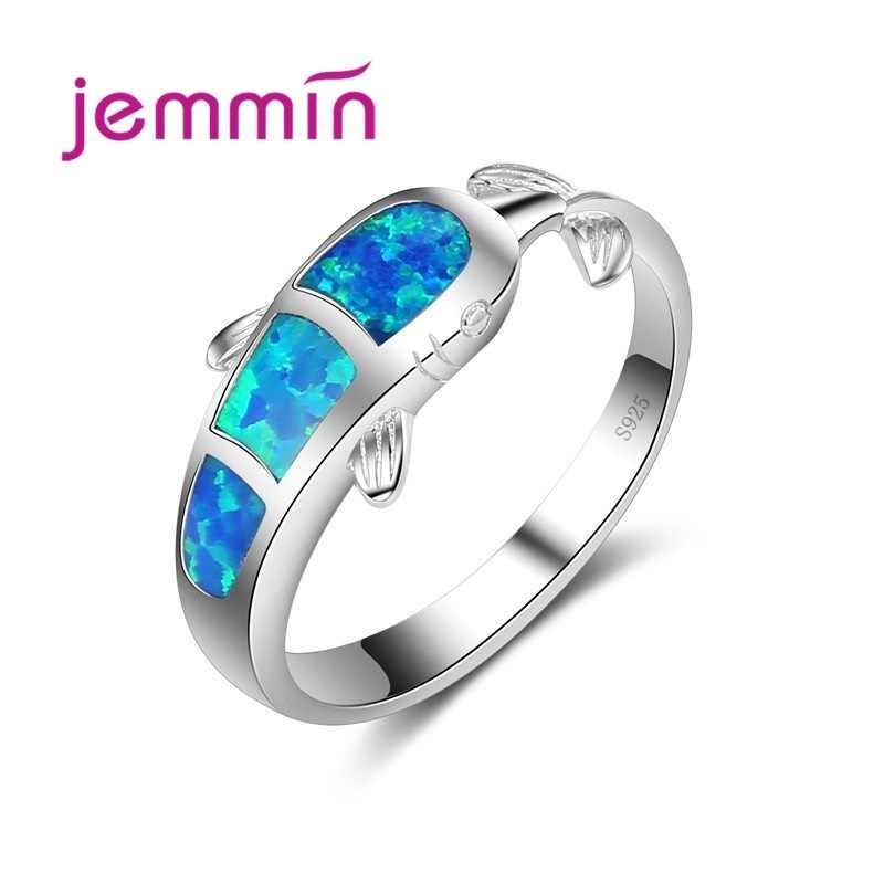 ล่าสุดน่ารักปลาวาฬ Blue Fire OPAL แหวนสำหรับบุรุษและสตรีเครื่องประดับที่ดีที่สุดของขวัญ