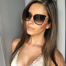 FENCHI-gafas de sol de estilo retro para mujer, anteojos de sol femeninos de gran tamaño, con diseño de ojo de gato, zonnebril dames