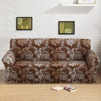 SunnyRain 1 Piece Butterfly Floral Pattern Elastic Sofa Cover Slipcover For Sectional Sofa Three Seat Sofa