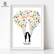 Romantic Lovers kissing Print Personalized Custom Name Date Fingerprint Signature DIY Painting Guestbook For Wedding Party Decor wedding balloon canvas print diy fingerprint signature guestbook for wedding bride groom custom name date party decor