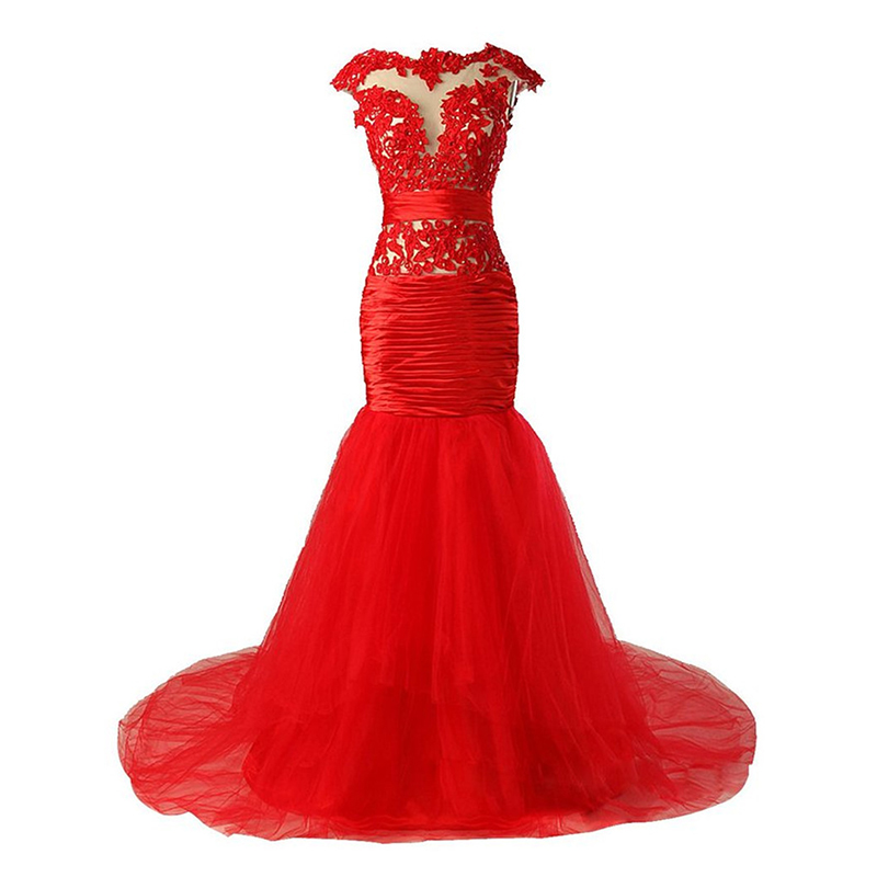 Red Evening Dresses 2019 Mermaid Cap Sleeves Tulle Lace Beaded Formal Plus Size Long Evening Gown Prom Dresses Robe De Soiree