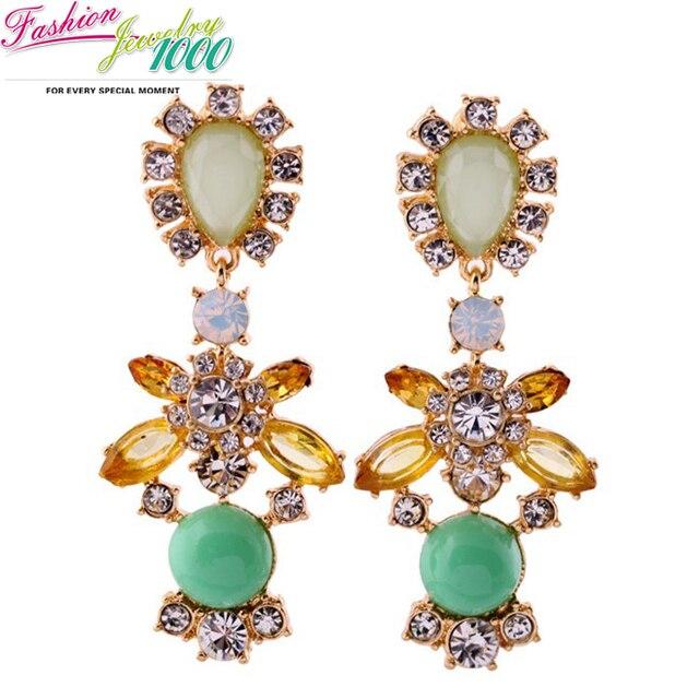 Free Shipping New Fashion Green Crystal Stone Flower Drop Earrings Brand Luxury Statement Jewelry For Women