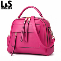 Fashion Women Shoulder Bag Candy Color Female Leather Double Zipper Designer Top Handle Handbags Tote Bags