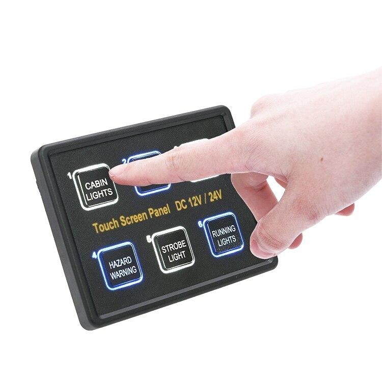 6 gang LED Retour Capacitif Écran Tactile Commutateur Panneau DC 12 v/24 v Pour le bateau, yacht, marine Bateau, Caravane noir ABS 80*100*80mm