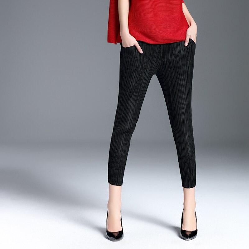 Noir Miyake Pantalon 2019 longueur bleu Noir Crayon Issey De gris Été Azterumi Bleu Femmes Mode Taille Gris Élastique Cheville Streetwear Printemps 5fzqBwZ