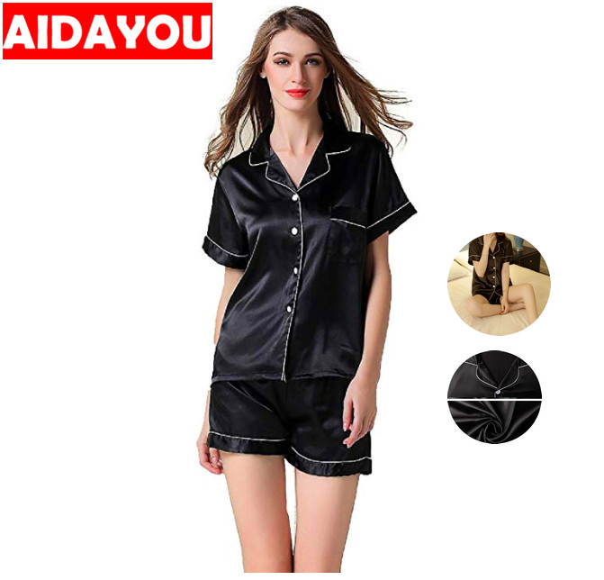 Satin Silk Pajamas Set Short Sleeve Button-Down Pj Set Korean Style Sleepwear Loungewear Two Piece Pj Sets Ouc413