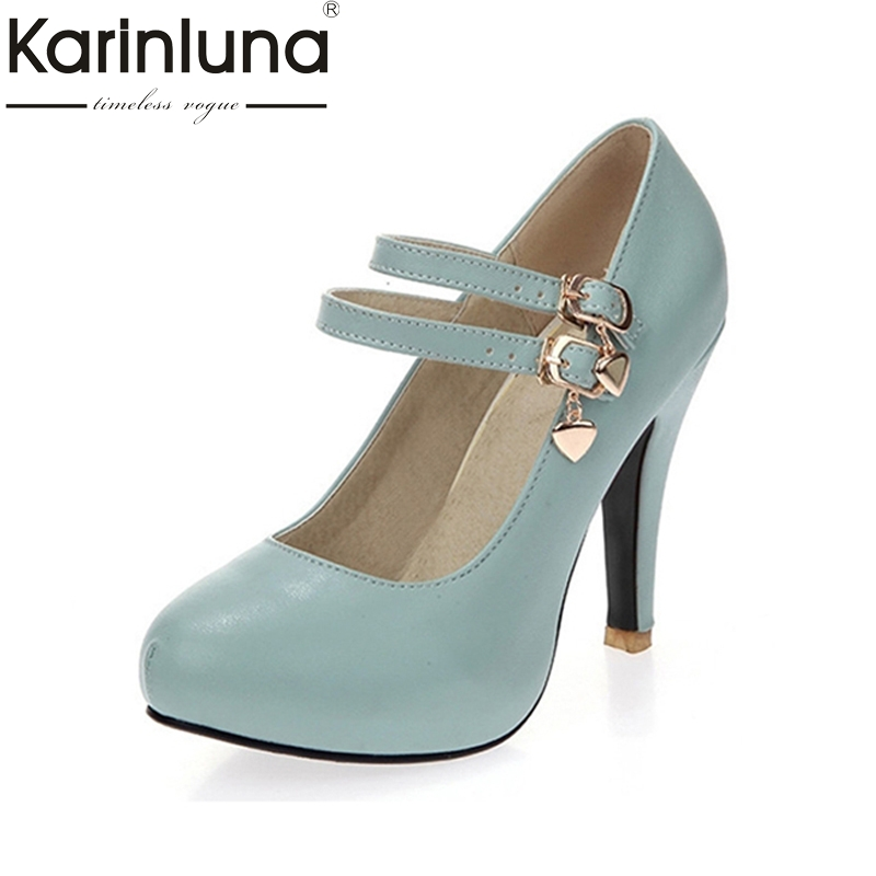 KARINLUNA New arrivals Big Size 31-43 round Toe platform Women Shoes Woman elegant spike High Heels Party Office Lady Pumps original 10 1inch lcd screen for yoga2 tablet2 1050f lc 1051f 10 tablet pc free shipping