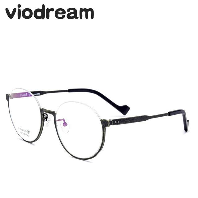 Viodream 100% Pure Titanium Retro Electroplating Glasses Frame Old Color  style Half Spectacle Optical Frame Oculos De Grau 709-in Eyewear Frames  from ...