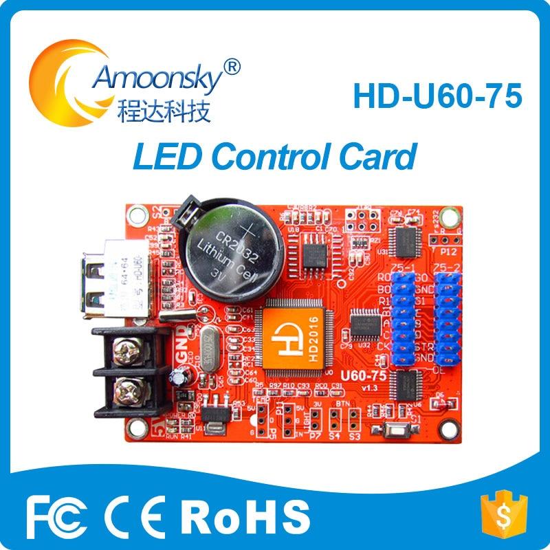 HD-U60-75 P10 Led Screen Display Controller Single Color Control Card With Hub75 Interface Asynchronous LED Control Card U60-75