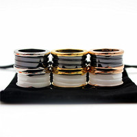 Top Quality Luxury Ring 316L Stainless Steel Black And White Ceramic Rings For Women Men Wedding