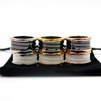 Top Qualität Luxus Ring 316L Edelstahl Schwarz und Weiß Keramik Ringe Für Frauen Männer Hochzeit Paar Lovers Ring WX015