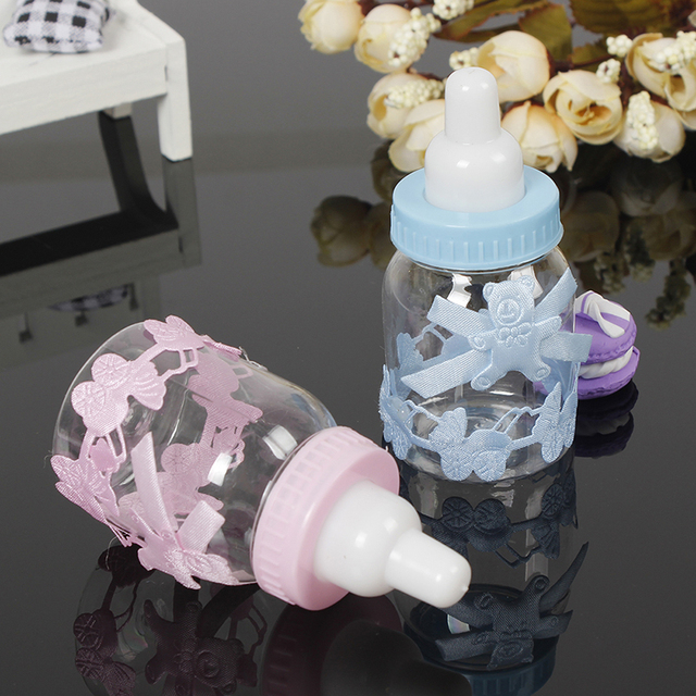 12Pcs Baby Shower Gift Box Bottle Blue Boy Pink Girl Baptism Christening Brithday Party Favors Gift Favors Candy Box Bottle