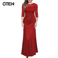 OTEN runway dresses 2017 Elegant Women 3/4 sleeve lace slim ladies maxi long Formal evening party dresses robe sexy Ball gowns