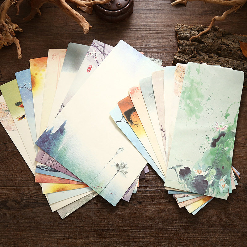 Coloffice (4 Letter Paper + 2 Envelopes) Vintage Chinese Style Vintage Craft Paper Envelope For Letter Paper Postcard Stationery