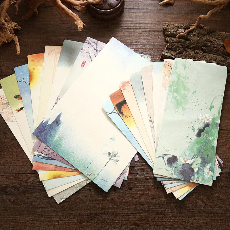 Coloffice (4 Letter Paper + 2 Envelopes) Vintage Chinese Style Vintage Craft Paper Envelope For Letter Paper Postcard Stationery