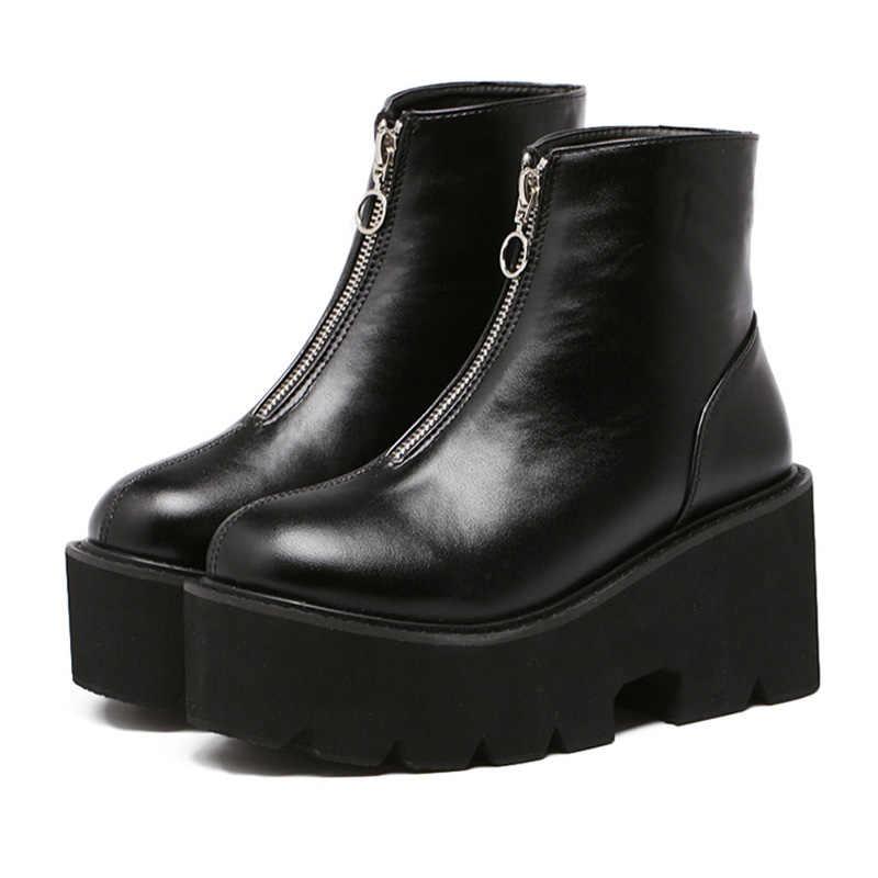 Timetang sexy plataforma feminina botas de salto alto motocicleta zíper tornozelo saltos grossos botas punk sapatos quentes feminino footwears e243
