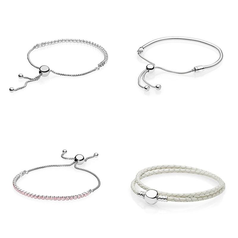 цены на 4 Style Women 925 Sterling Silver Charms Basic Bracelets Adjustable Length Round Bead Basic Chain for Diy Beads Charm в интернет-магазинах