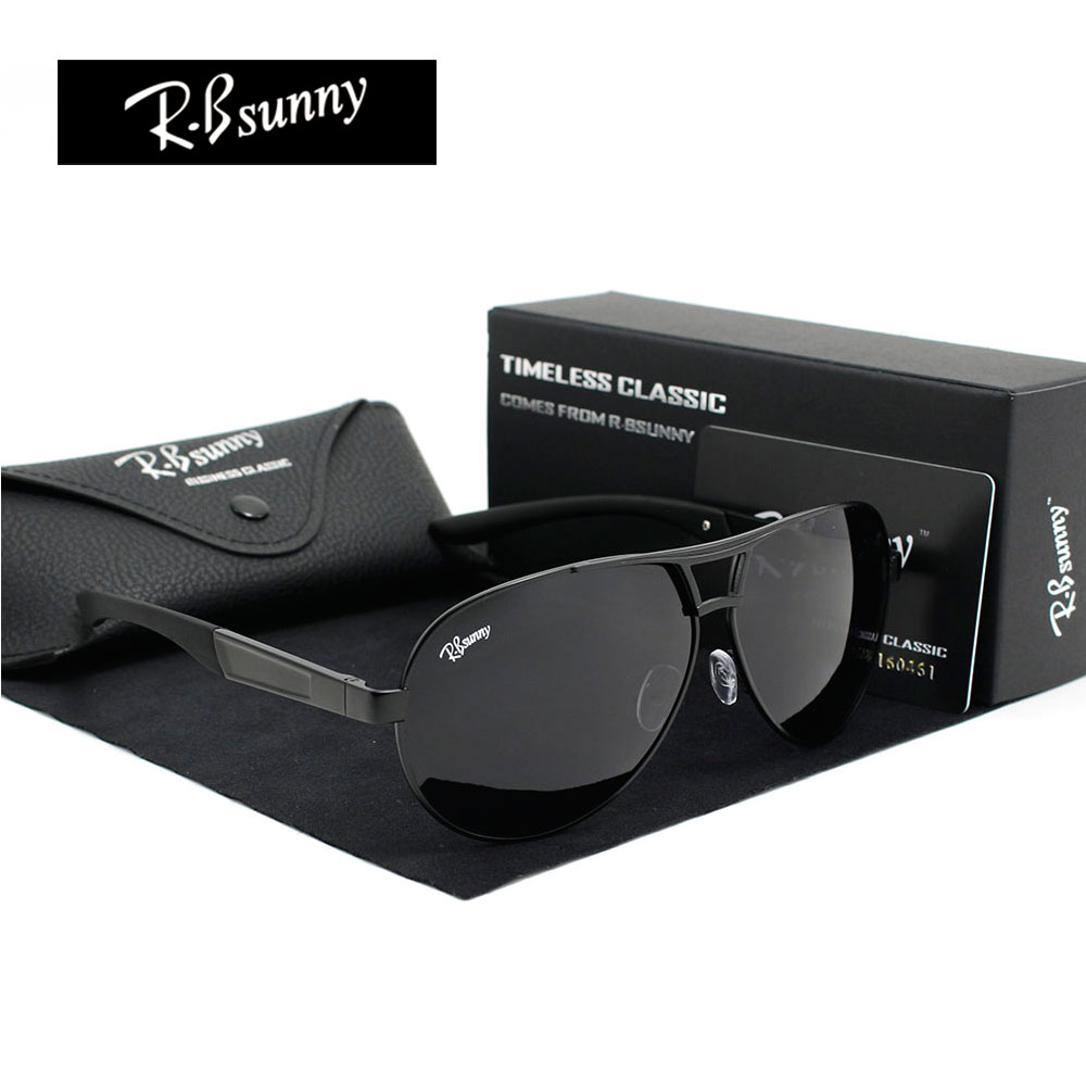 Fashion Brands polarized sunglasses Men Business Classic high quality sunglasses block Driving glare UV400 goggle R.Bsunny R1611 fashion rectangle frame gun metal leg outdoor driving sunglasses for men