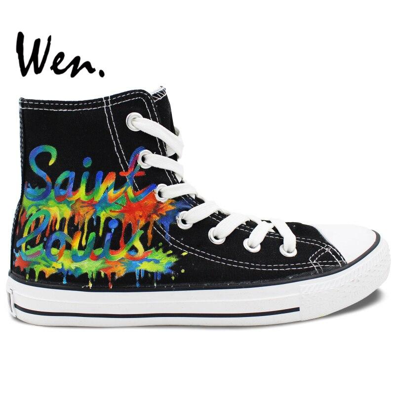 ФОТО Wen Design Custom Original Hand Painted Shoes Saint Louis City Skyline Black High Top Men Women's Canvas Sneakers for Gifts