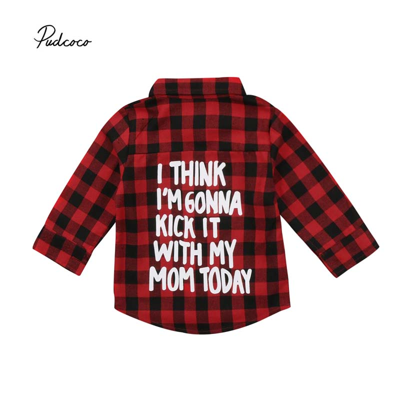 Pudcoco 2018 Toddler Kids Baby Boy Girl Plaid Tops Letter Back Button Fly Long Sleeve Shirt Sunsuit Cotton Outfits Clothes 2-7Y long sleeve plush lining button down shirt