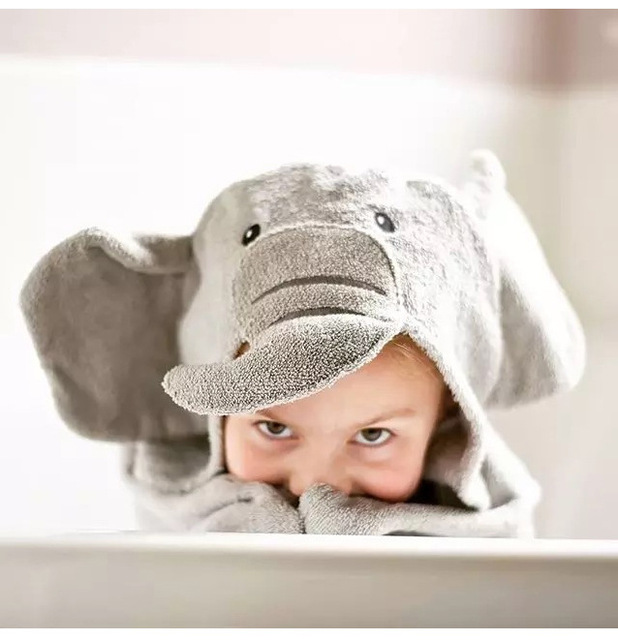 cartoon Elephant  Cuttons Hooded Animal Baby Bathrobe Cartoon Baby Towel Character Kids Bath Robe Infant Towel