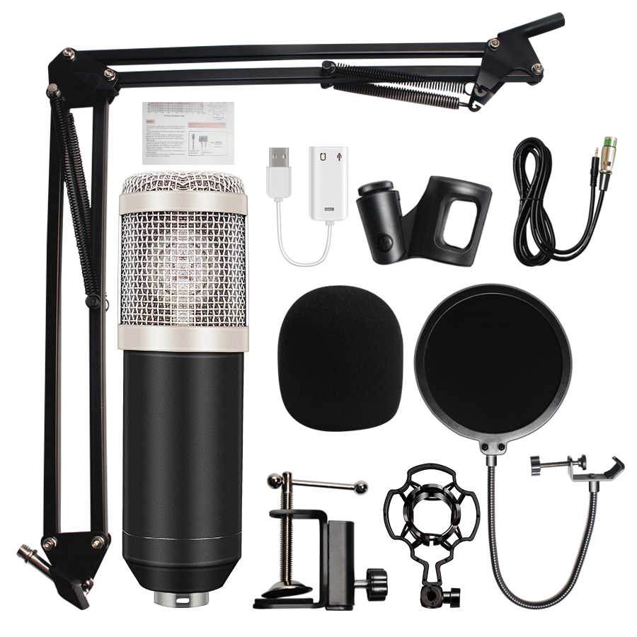 Professional bm800 condenser microphone Sound Recording bm 800 Microphone  KTV Karaoke Microphone Set Mic W/Stand For Computer