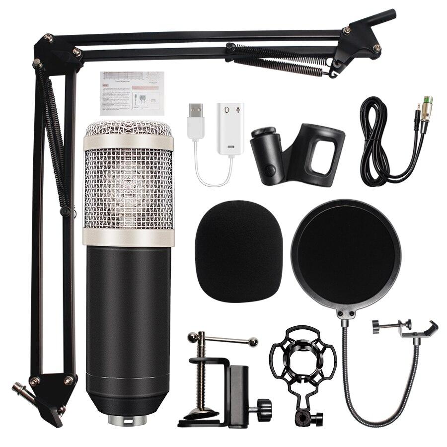 Profissional bm800 microfone condensador gravação de som bm 800 microfone ktv karaoke microfone conjunto microfone com suporte para computador