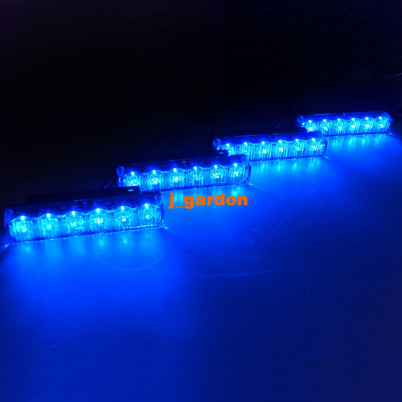 Вслед 4 x 6 Сид наивысшей мощности световой восстановления аварийного восстановления Маяк вредитель мигающий свет LED синий решетка Световая