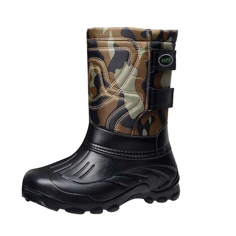 все цены на New Men Winter Boots Military Boots Waterproof Safety Shoes Snow Boots Mid Calf Working Warm Fleeces Botte Homme Tenis Plus Size