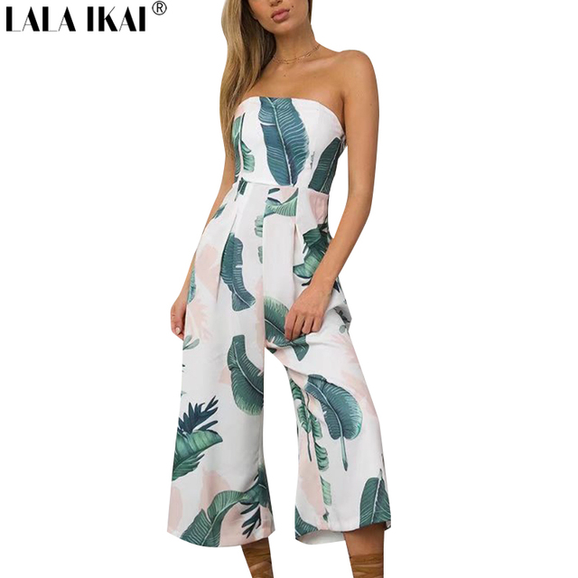 09e00fcc75 Bohemian Jumpsuits Women Summer Palm Leaf Print Playsuits Female Beach Cold  Shouder Romper Wild Leg Slash Neck Outfits KWH0344-5