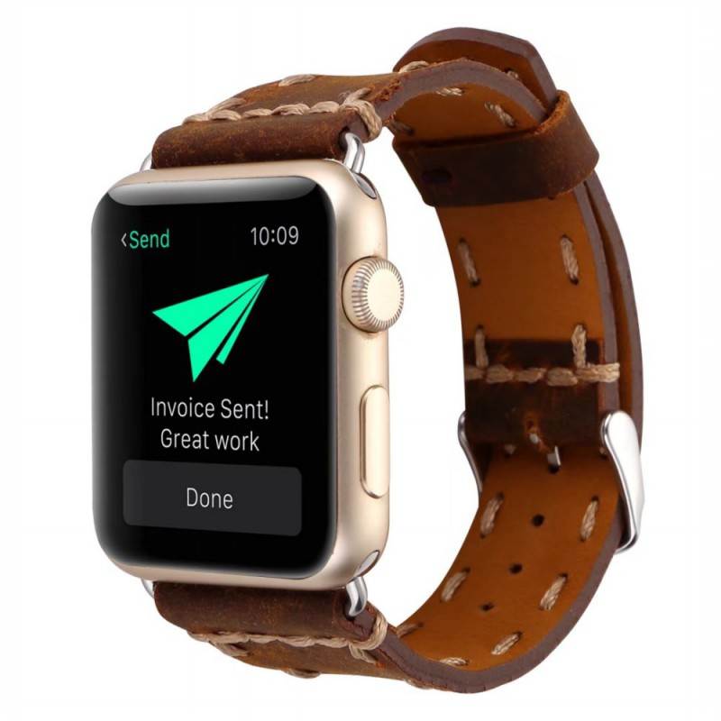 Retro Handmade Genuine Leather Strap for Apple Watch Series 3 2 1 Band Vintage Thread Bracelet for iWatch 38mm 42mm Watchbands