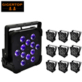 Freeshipping 10 Pack 12x18W 6IN1 DMX Flat Led Par Light  Stage Lights Wireless Led Flat Par High Power Led UV Party KTV Disco DJ