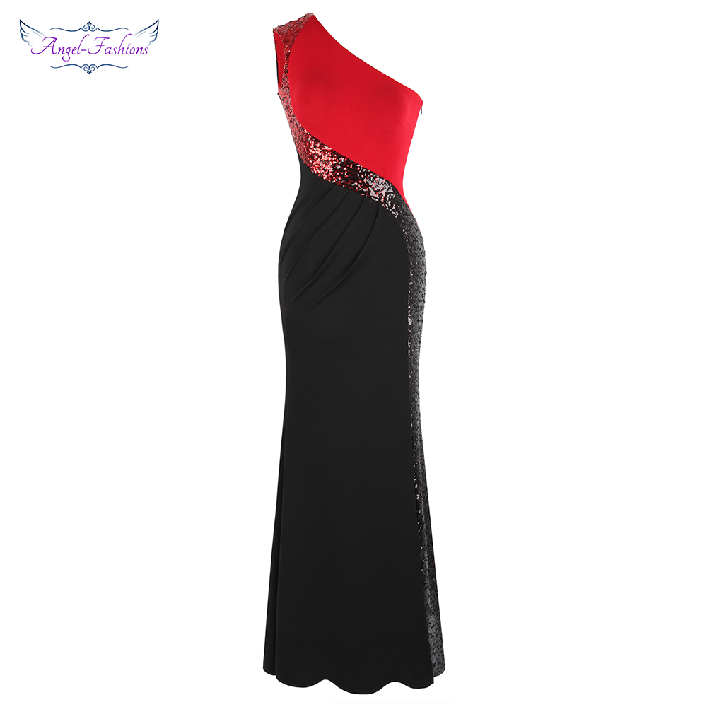 Angel fashions Women s One Shoulder Pleated Splicing Gradient Sequin Contrast Color Black Red Split Party