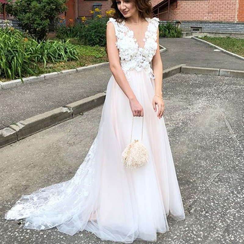 Womens 2018 New Tulle Lace Wedding Dresses A-Line Long Bride Gowns