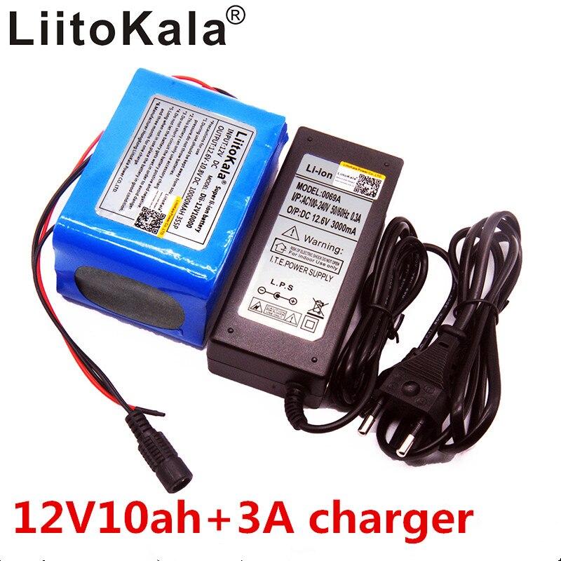 LiitoKala 12 v 10Ah 18650 batterie Au Lithium protection plaque Grande capacité 12.6 v 10000 mah Capacité + 12 v 3A batterie Chargeur