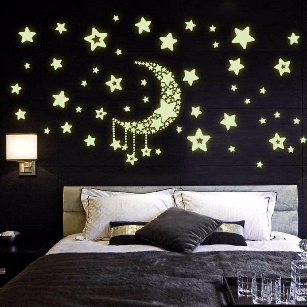 2017 New DIY Night Light Glow In The Dark Moon Stars Wall Stickers Home Decor Decals Kids Bedroom Flourescent Wall Stickers