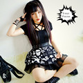 Exclusive retro vintage rok punk rivets cross sheep's head skull moon print ball gown black high waisted mini skirt