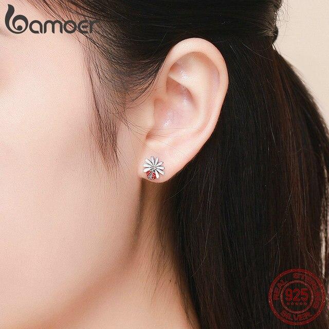 925 Sterling Silver Daisy Flower Red Ladybug Stud Earrings 5