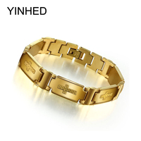 18K Yellow Gold Plated 12mm Wide Stainless Steel Cross Bracelet Bangles For Men 2015 Fashion Jewelry