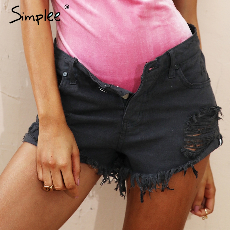 Ripped hole fringe blue denim shorts women