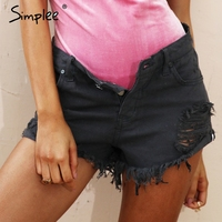 Simplee Apparel 50 S Vintage Ripped Hole Fringe Blue Denim Shorts Women Casual Pocket Jeans Shorts