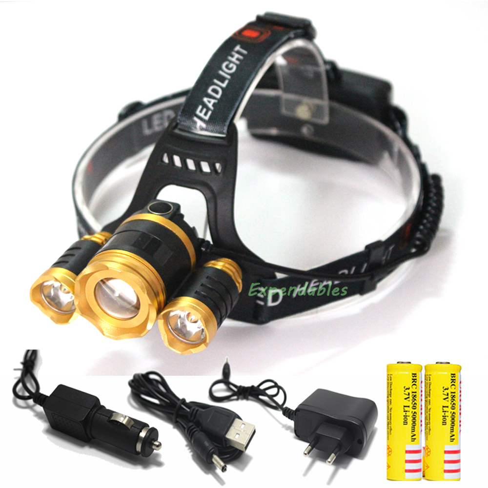 2016 New 10000 Lumen T6 +2*R5LED Headlamp 4 Modes Head Light Lamp LED Headlight+2X18650 Batteries Car EU/US/AU/UK Charger+1XUS