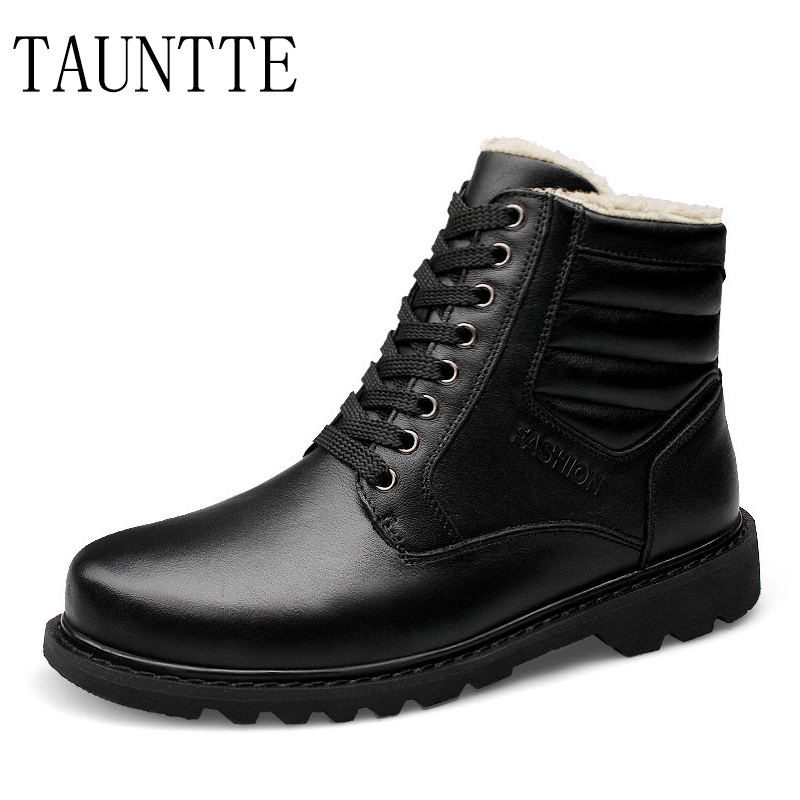 цены Tauntte Winter Plus Size Ankle Boots Men Military Boots Fashion Keep Warm Work Boots Genuine Leather Martin Boots With Fur
