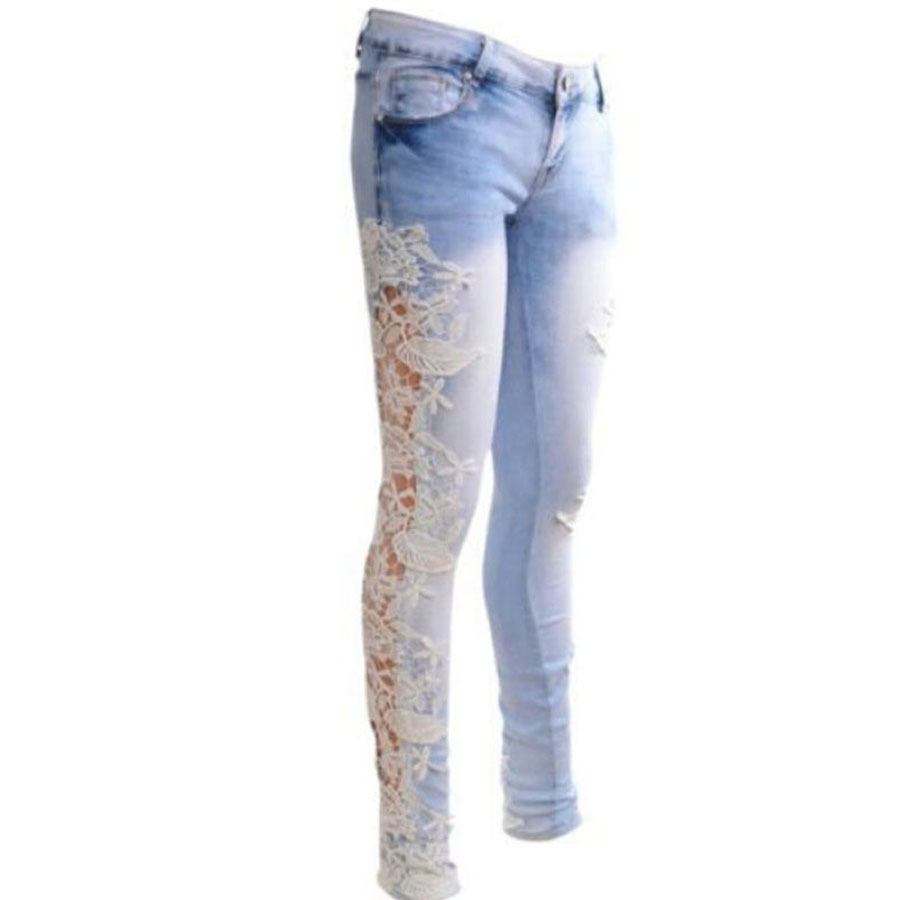 Aliexpress.com : Buy Ripped Jeans Plus Size Women Lace Splice ...