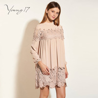 Young17 Summer Dress Women Nude Patchwork Lace Lantern Sleeve Beachwear Sweet Floral Knee Length Dating Beauty