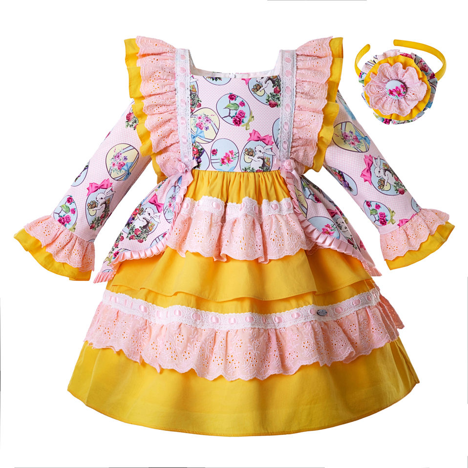Pettigirl Wholesale 2019 Easter Baby Dress For Girl Autumn Flower Rabbit Pattern Yellow Dress Bows Kids