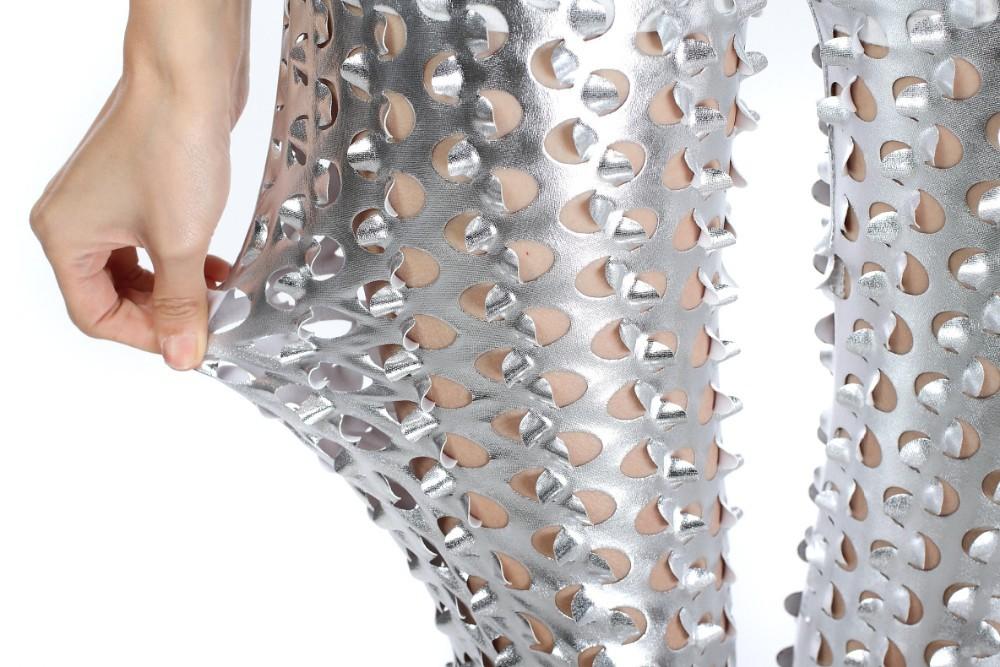Hole Ripped PU Leather Elastic Leggings